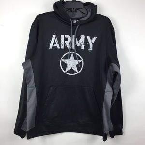 Army Performance Mens Med Black Gray Army Hoodie